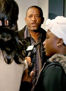 The father of Devaughndre Broussard is asked questions by the media after his son appeared in court (Laura A. Oda/The Oakland Tribune)